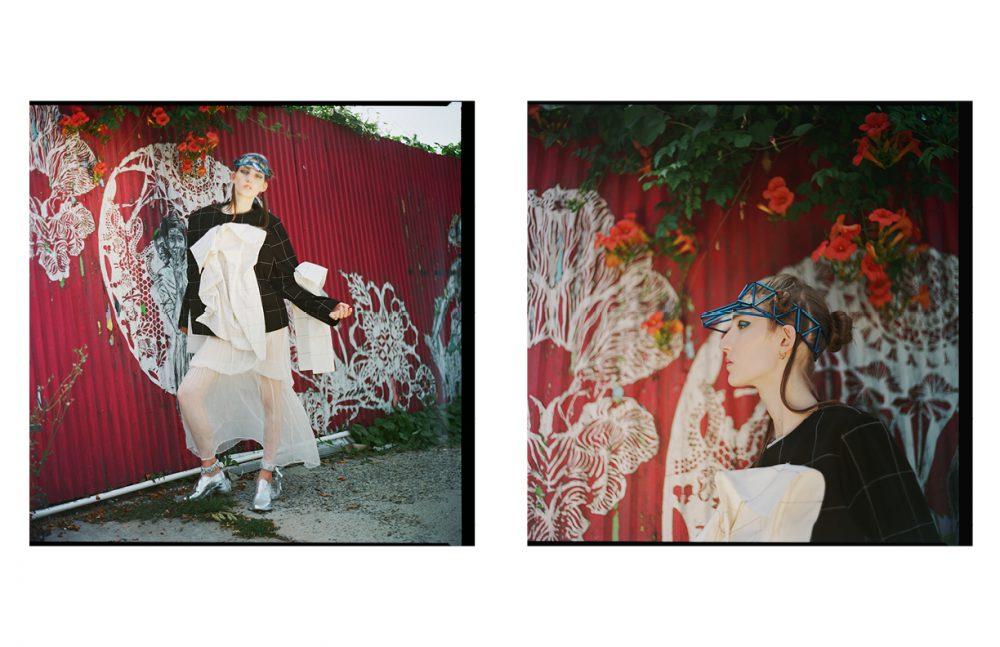 Jacket / YA JUN LIN Dress / Vincetta Cap / WXYZ Shoes / Annie Li