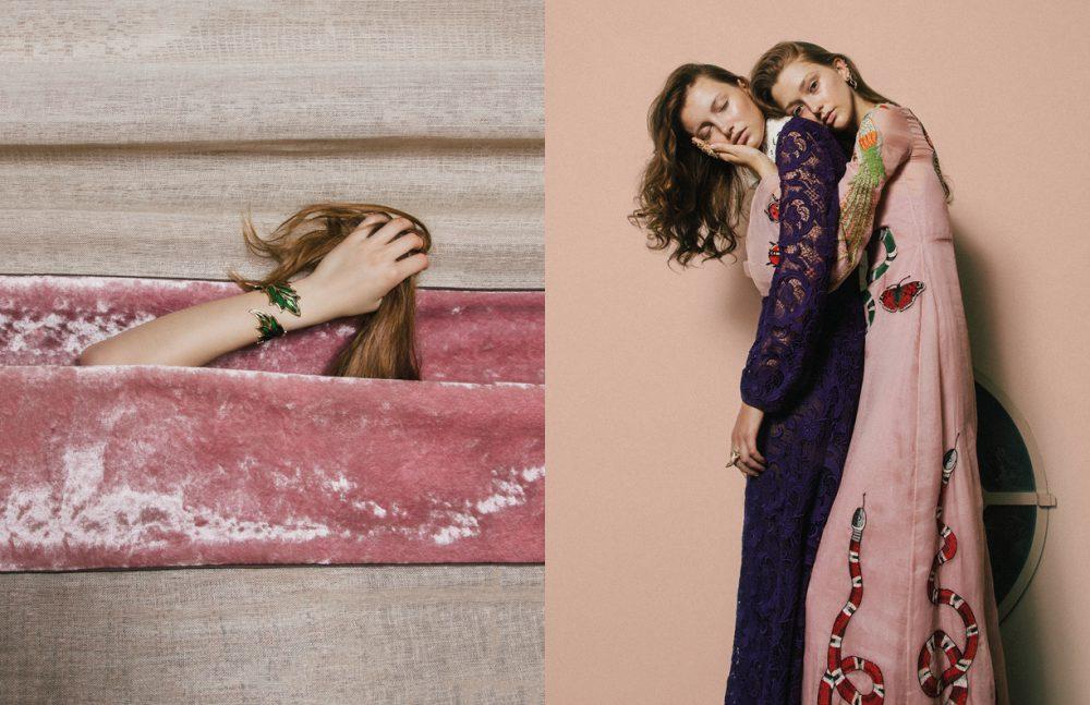 Jewels / Bernard Delettrez  Opposite  Dress / Miu Miu Dress / Gucci Jewels / Bernard Delettrez
