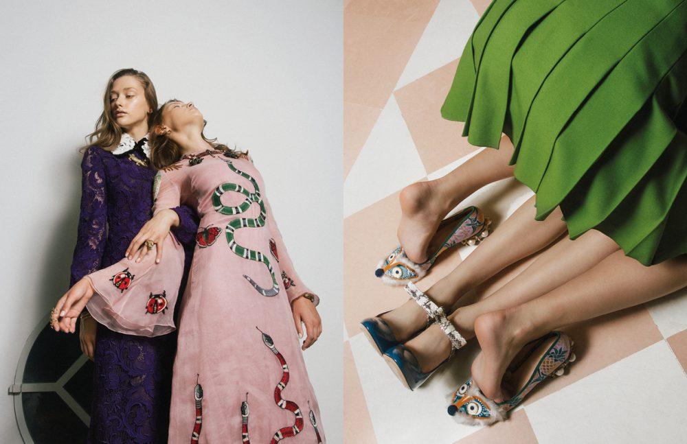 Dress / Miu Miu Dress / Gucci Jewels / Bernard Delettrez Opposite  Skirt & Shoes / Gucci