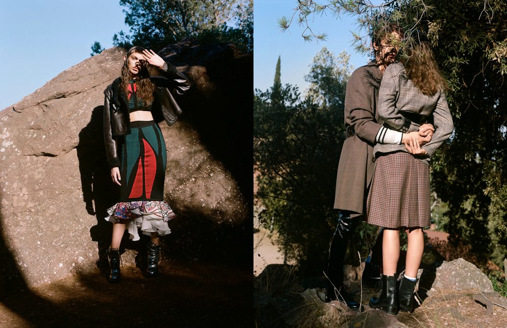 Total Look / LOUIS VUITTON Opposite  Sofia @ BLOW wears Total Look / Vintage Céline Boots / Sandro Paris Martin @ TREND wears Shirt / Torras Cardigan / MM6 Trousers / Wendy&Jim Vintage Coat & Belts / Stylist's Own Total Look / LOUIS VUITTON Boots / Dior