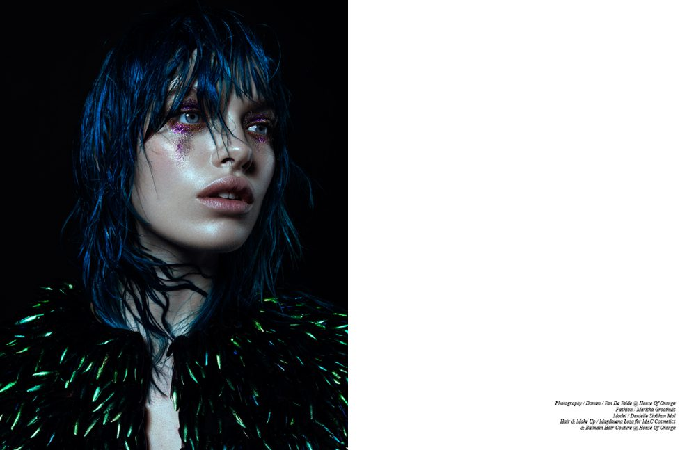 Skin / MAC Cosmetics Face en Body C2 Blush / MAC Cosmetics Lady Blush Eyes / MAC Cosmetics Glitters Reflects Bronze & Fuchsia Lips / Lip Conditioner Hydratant Wig / Balmain Hair Couture