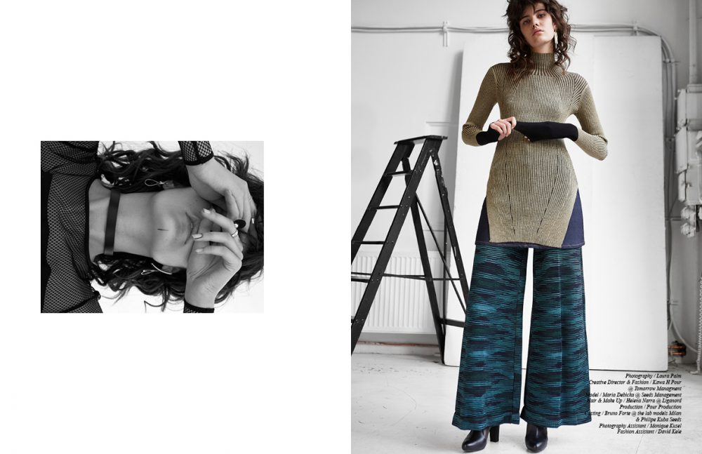 Dress / Sportmax Chokers / Giuseppe Zanotti  Rings & earrings / Calvin Klein  Ring / Pilgrim Opposite Turtleneck / By Malene Birger  Trousers / M Missoni Denim Skirt / Acne Studios  Boots / ad Klingberg  Earrings / Lara Bohinc Rings / Dior