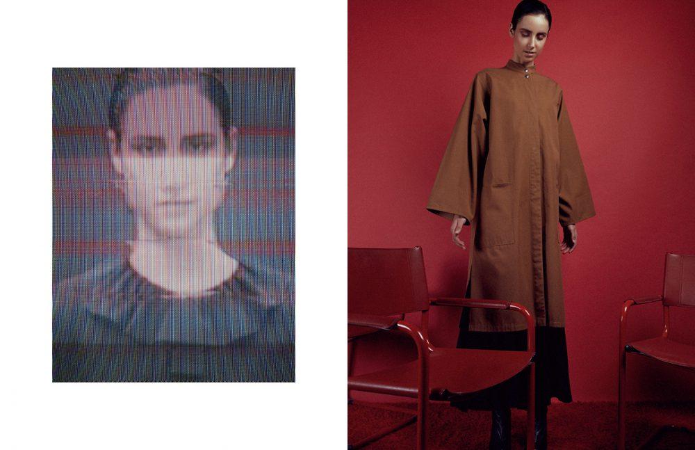 Top / 1970's Yves Saint Laurent Opposite Raincoat / 1970's Anne-Marie Beretta Mesh  Skirt / 1980's Yves Saint Laurent  Shoes / Balmain