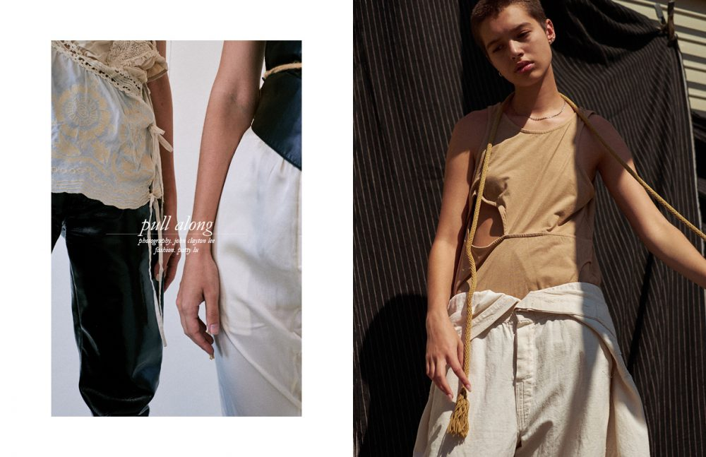 Left wears  Top / Dries Van Noten  Trousers / Vintage Right wears  Top / Reed Krakoff  Trousers / Ann Demeulemeester (vintage) Belt / Stylist's Own Opposite Top / Telfar  Jumpsuit / Vintage  Necklace / Stylist's own Hoop  Earring / Shikama