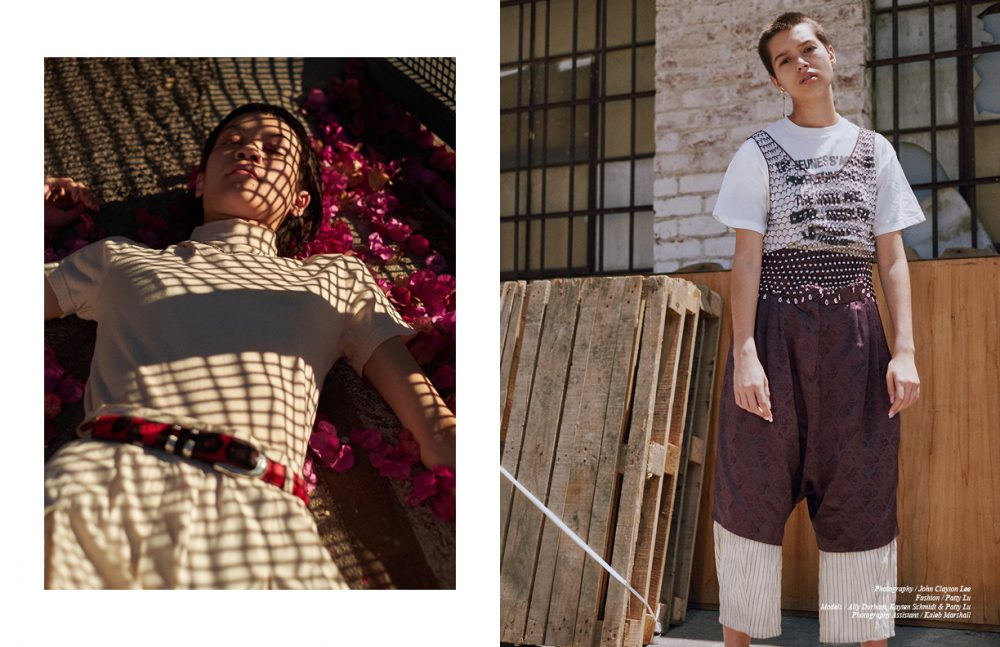 T-Shirt / Jacquemus  Necklace / Stylist's own  Trousers / Vintage Opposite T- Shirt / Supreme (vintage) - the youth are getting restless Top / Vintage Silk Shorts / Dries Van Noten (vintage)  Trousers / caron callahan Earring / Shikama