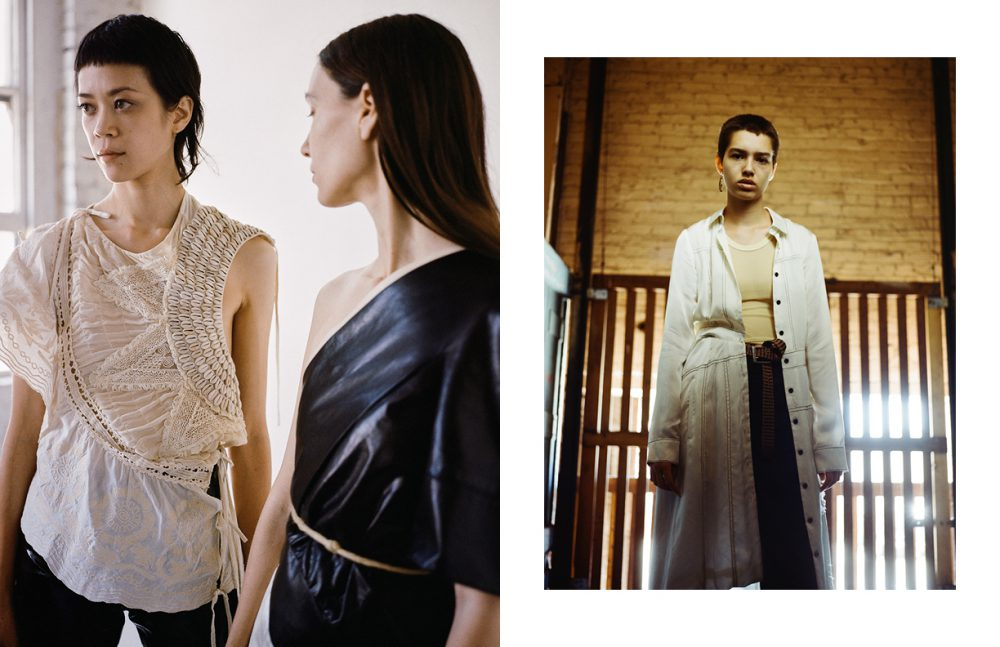 Left wears Top / Dries Van Noten  Trousers / Vintage Right wears Top / Reed Krakoff Trousers / Ann Demeulemeester (vintage)  Belt / Stylist's Own Opposite Dress / Creatures of the Wind Silk  Trousers / Christophe Lemaire  Top, belt & earring / Vintage