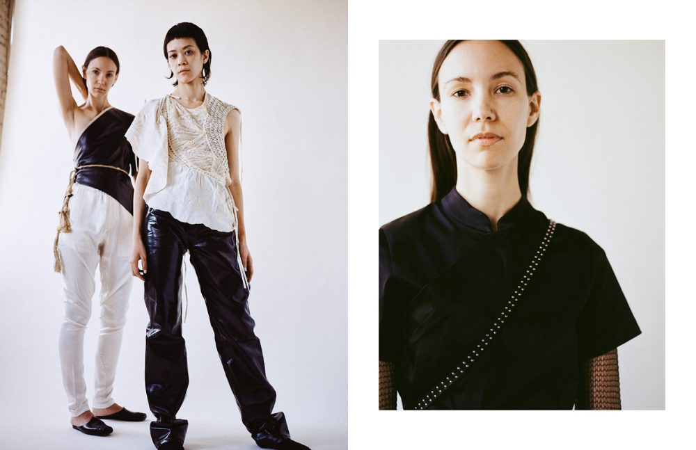 Left wears Top / Dries Van Noten  Trousers / Vintage Right wears Top / Reed Krakoff Trousers / Ann Demeulemeester (vintage)  Belt / Stylist's own Shoes / Dries Van Noten (vintage) Opposite Knit Top / Stylist's own  Dress & belt / COMME des GARÇONS