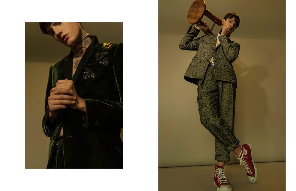 Blouse / Giorgio Armani Suit, Belt & Trousers / Emporio Armani Opposite  Shirt / Gucci Blazer, Belt & Trousers / Emporio Armani Shoes / Converse All Star