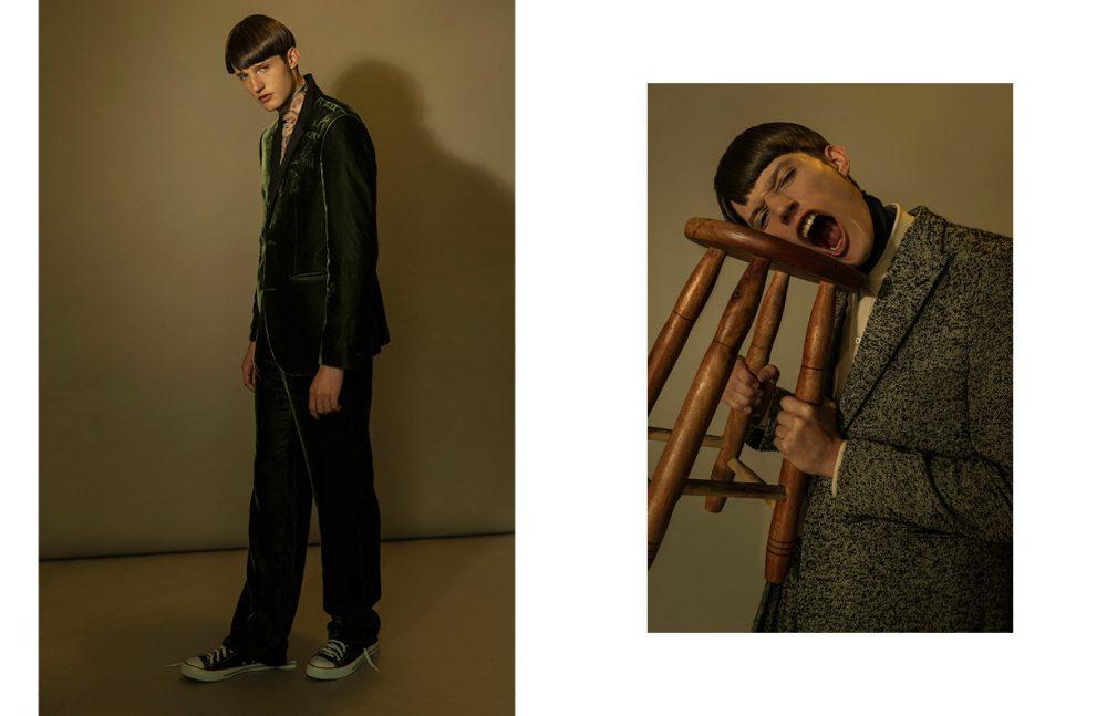 Blouse / Giorgio Armani Suit, Belt & Trousers / Emporio Armani Opposite  Shirt / Gucci Suit, Belt & Trousers / Emporio Armani