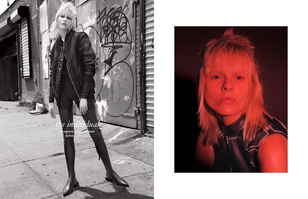 Bodysuit / Norma Kamali Leather Jacket / PHILIPP PLEIN Garter / Bodybinds Over The Knee Boots / Tamuna Ingorokva Opposite Dress / PHILIPP PLEIN
