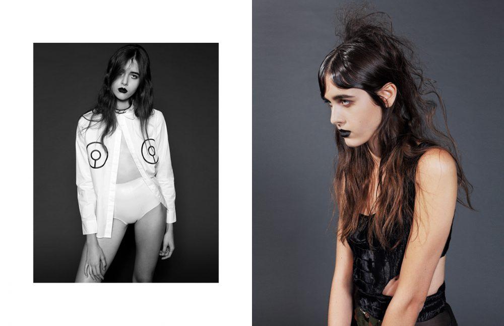 Top / Damsel Latex Brief / Geoffrey Mac Necklace / Haus of Topper Opposite Cutout Top & Shorts / GEORGINE