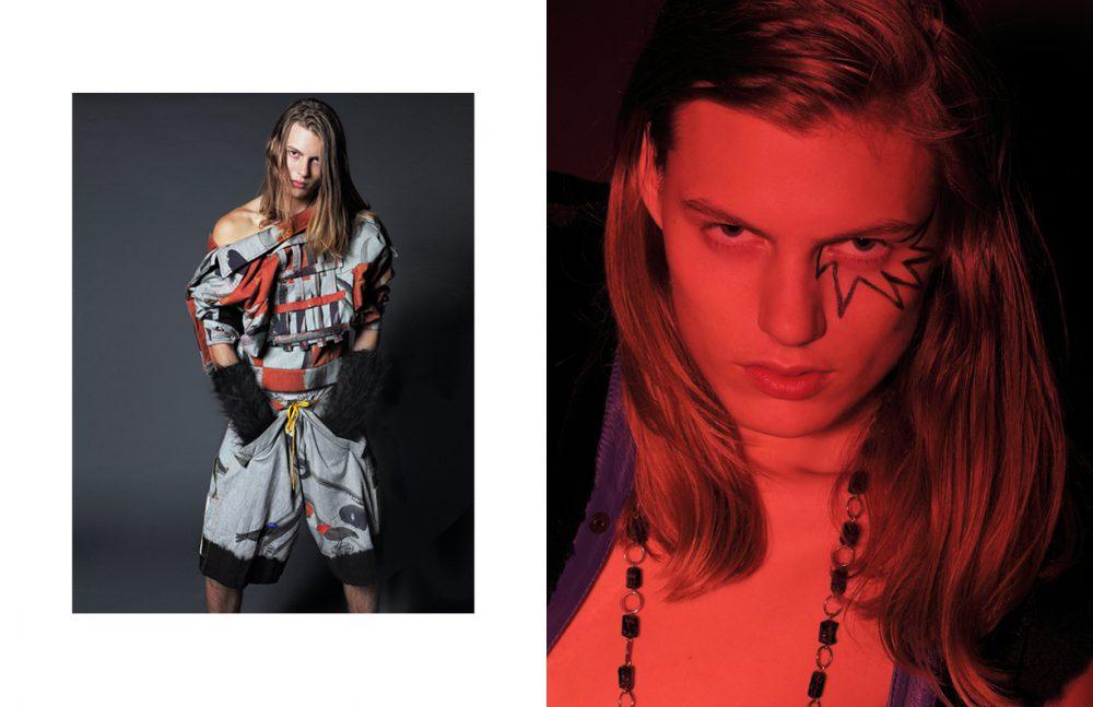 Jacket (Worn Backwards) & Shorts / Bernhard Willhelm Gloves / Malan Breton Opposite  Fur Vest / Stephen F. Necklace / Haus of Topper
