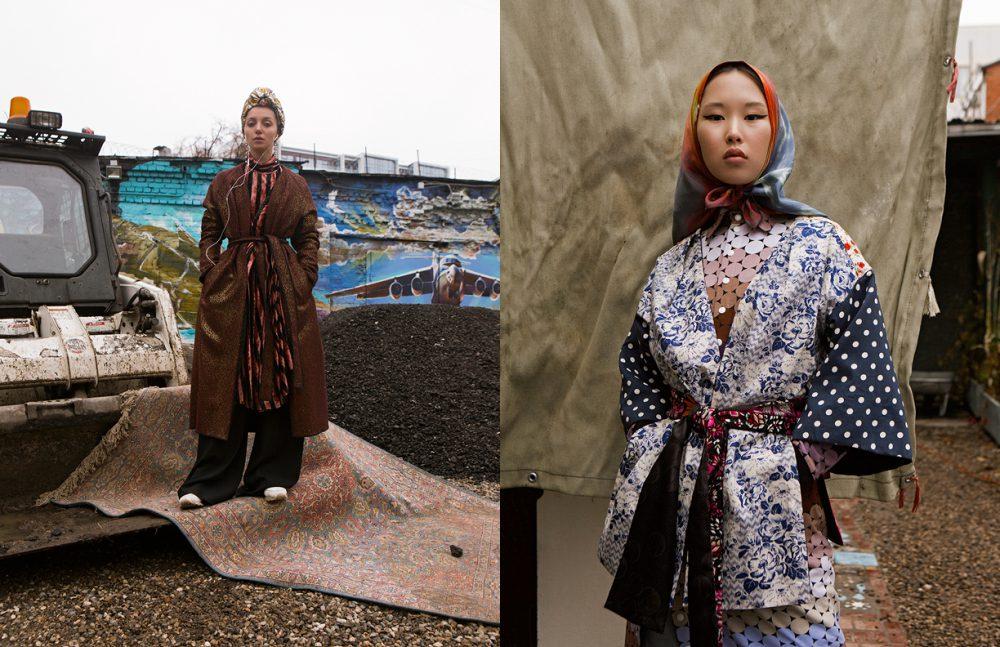 Dress & Trousers / InShade Caftan / BODRA Turban & Earrings / Gucci Trainers / Reebok Opposite  Dress & Kimono / Bodra Shawl / ARSENICUM