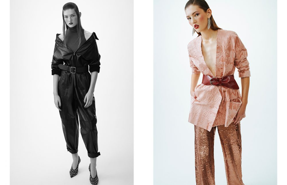 Top / American Apparel Jumpsuit / Ivan Grundahl Belt / Frame Shoes / Céline Opposite Jacket / Mark Kenly Domino Tan x Kopenhagen Fur Belt / Isabel Marant Trousers / Stine Goya Earrings / Stylist's Own