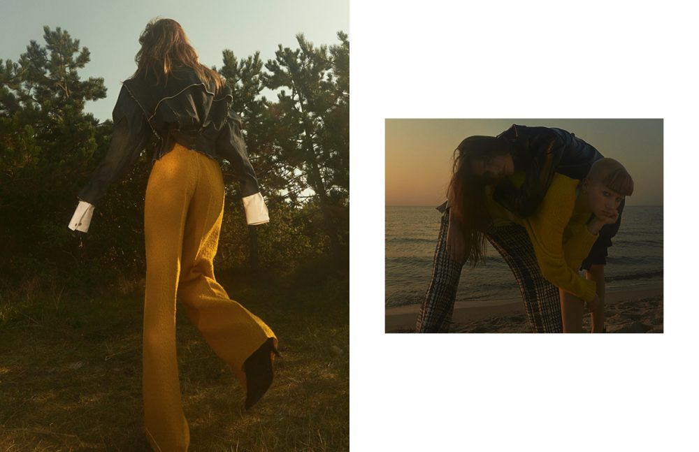 Jacket / Hannah Jinkins X H&M Shirt / Acne Studios Trousers / Max Mara Shoes / By Malene Birger Opposite Top wears Jacket / Diesel Skirt / Freya Dalsjø Bottom wears Knit / Acne Studios Harness / Zana Bayne & Other Stories Trousers / Libertine-Libertine