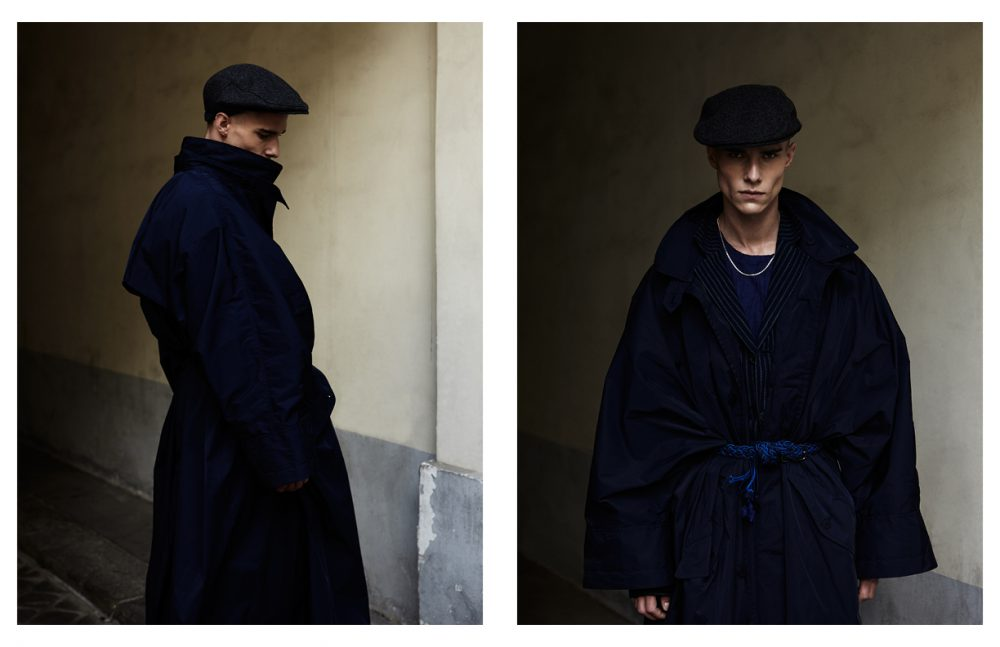 Hat / Agnès B FW16 Coat, Jacket, Belt & Trousers / Issey Miyake SS17 Opposite Hat / Agnès B FW16 Necklace / Vibe Harsloef Coat, Jacket, T-Shirt, Belt & Trousers / Issey Miyake SS17
