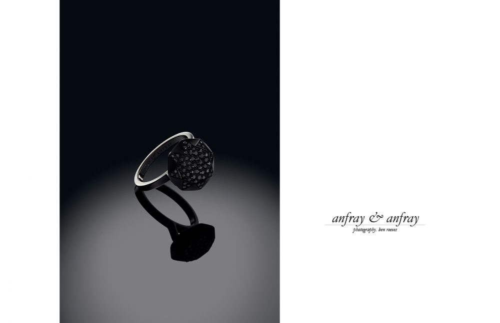 Anfray & Anfray / Diamond Ring - Black DLC Gold Black Diamonds