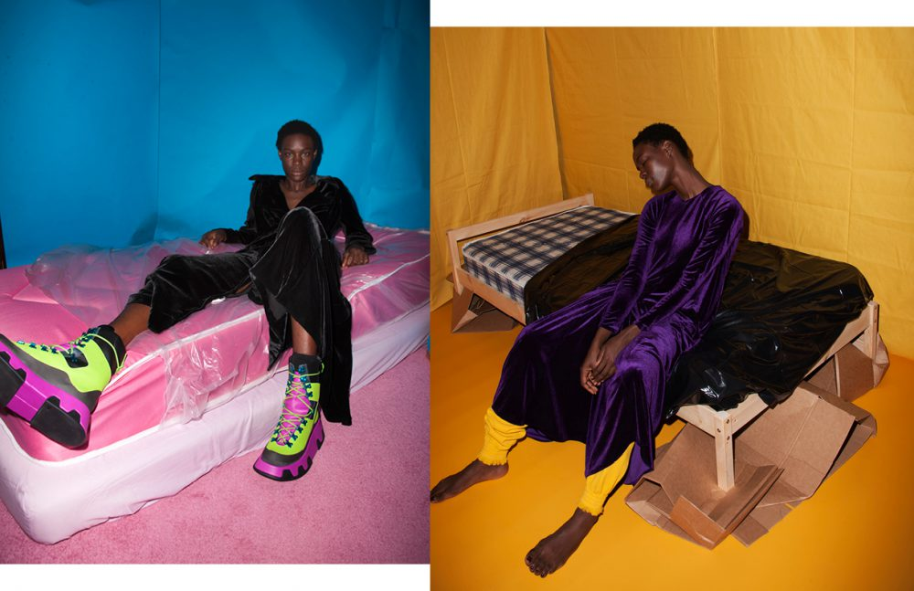 Coat / McQ by ALEXANDER McQUEEN Shoes / Camper Opposite Dress / Micol Ragni Leg Cuffs / J. JS Lee