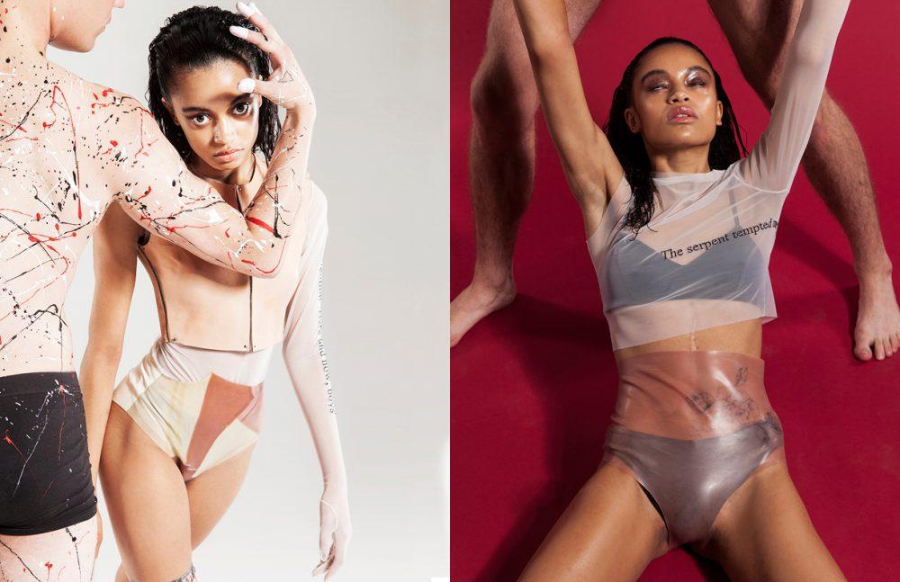 Bodysuit, Bustier, Briefs & Socks / Neri De Meester  Opposite Bralette & Black Briefs / Wolford