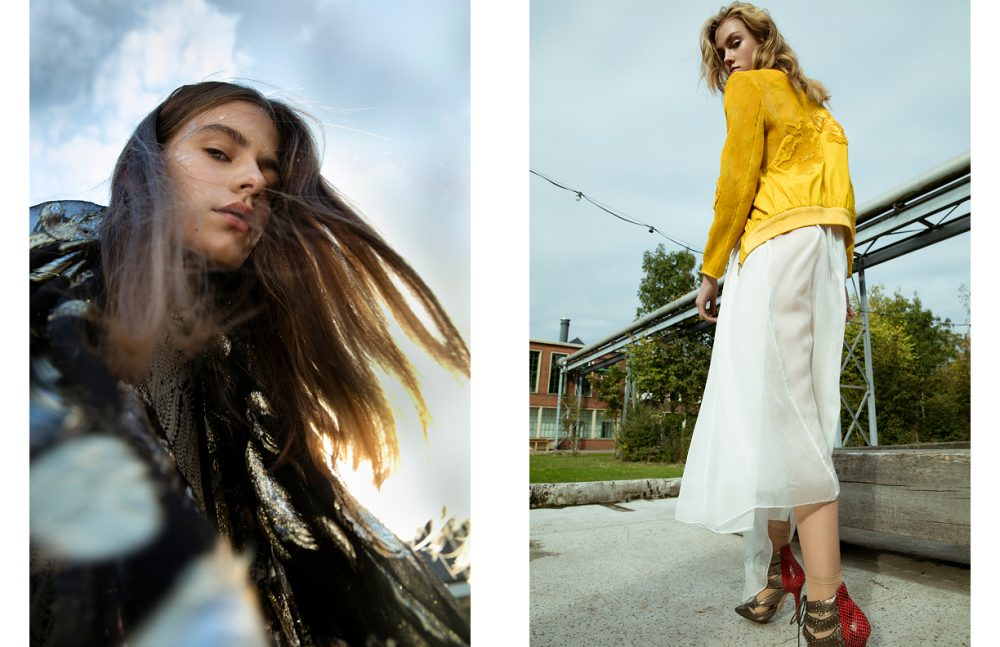 Jacket / IRO Scarf / Laura Dols Opposite Jacket / iNDiViDUALS Dress / Anne de Grijff Socks / Wolford Shoes / Nasty Gal