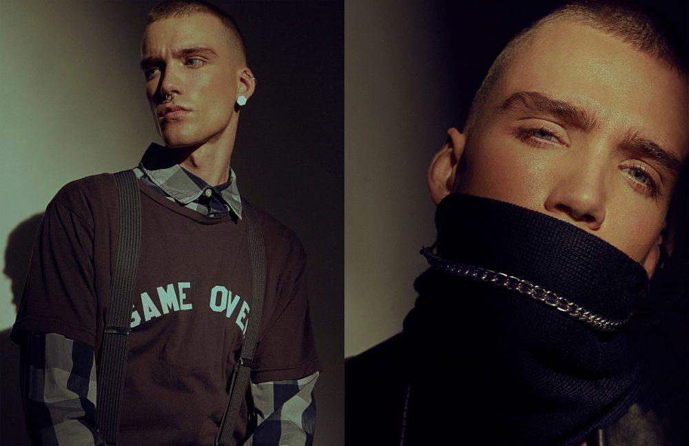 Shirt / Helmut Lang SS17 T-Shirt / Sub_Urban Riot SS17 Trousers / Roberto Cavalli SS17 Suspenders / Club Room Earring / Arquetype Opposite Scarf / Alexander Wang