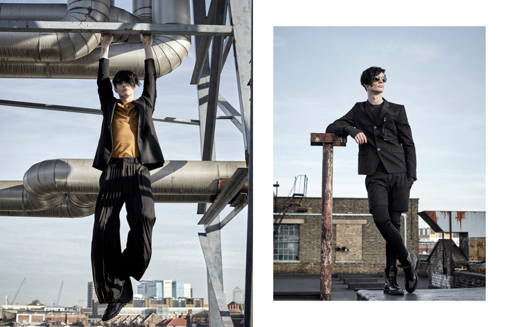 Jacket / Berthold Top / Natural Selection Trousers / SONGZIO Boots / Coach Opposite Suit / Diesel Boots / Jimmy Choo