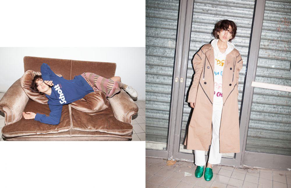 Jumper / Schott Skirt / MAISON PÈRE Socks / & Other Stories Trainers / Reebok Opposite Coat / Lucien Wang Jumper / Tsumori Chisato Jeans / Levi's Shoes / Essentiel Antwerp