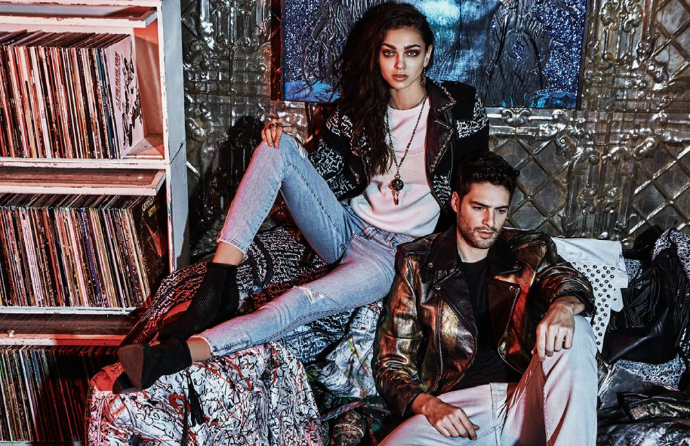 Zhenya @ Women wears Top / Belstaff Jeans & Shoes / GUESS Necklace, Rings & Earrings / IOSSELLIANI Jacket / Christian Benner Sean @ Wilhelmina wears Jeans & T-Shirt / GUESS Jacket / Christian Benner