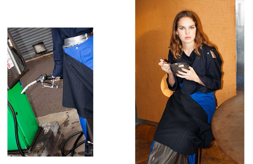 Top / Lutz Huelle Trousers / AFTERHOMEWORK(PARIS) Silver Skirt / Véronique Leroy Black Skirt / COMME des GARÇONS