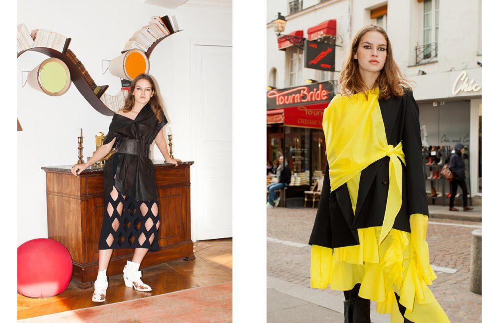Top / Ainur Turisbek Belt / Lutz Huelle Skirt / Véronique Leroy Shoes / MM6 Opposite Dress / MASHAMA Jacket / Lutz Huelle Trousers / AFTERHOMEWORK(PARIS)