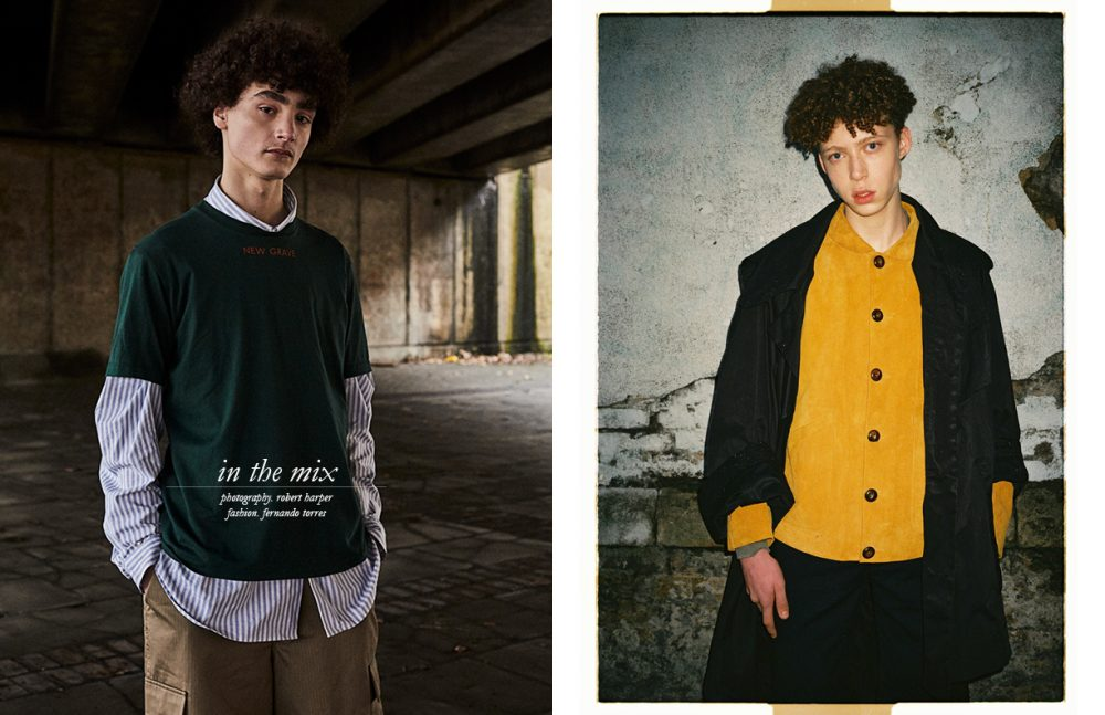 Bart @ AMCK Models wears T-Shirt & Trousers / JOHN LAWRENCE SULLIVAN Shirt / Weekday Opposite Luis @ Named Models wears Coat / BARBARA GONGINI Blazer / YMC Trousers / Agi & Sam