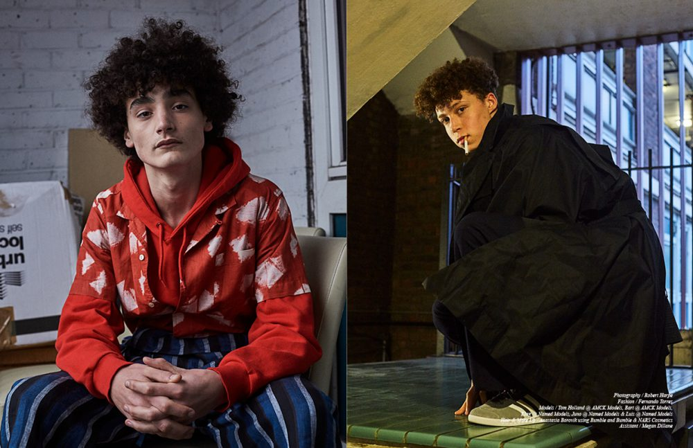 Bart @ AMCK Models wears Trousers & Shirt / YMC Hoodie / Weekday Opposite Luis @ Named Models wears Coat / BARBARA GONGINI Trousers / Agi & Sam Shoes / adidas