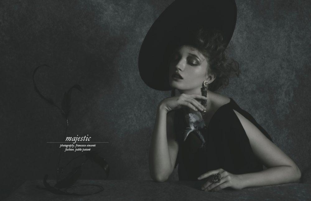 Dress / Ralph Lauren  Earrings / Giuseppina Fermi  Hat & Brooch / Pasquale Bonfilio  Ring / Roberto Cavalli