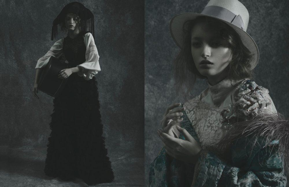 Dress & Shirt / Ermanno Scervino  Hat / Pasquale Bonfilio Opposite Shirt / Issey Miyake  Dress / CHANEL  Kimono / Bi ki bi Hat / Borsalino Piume / Prada