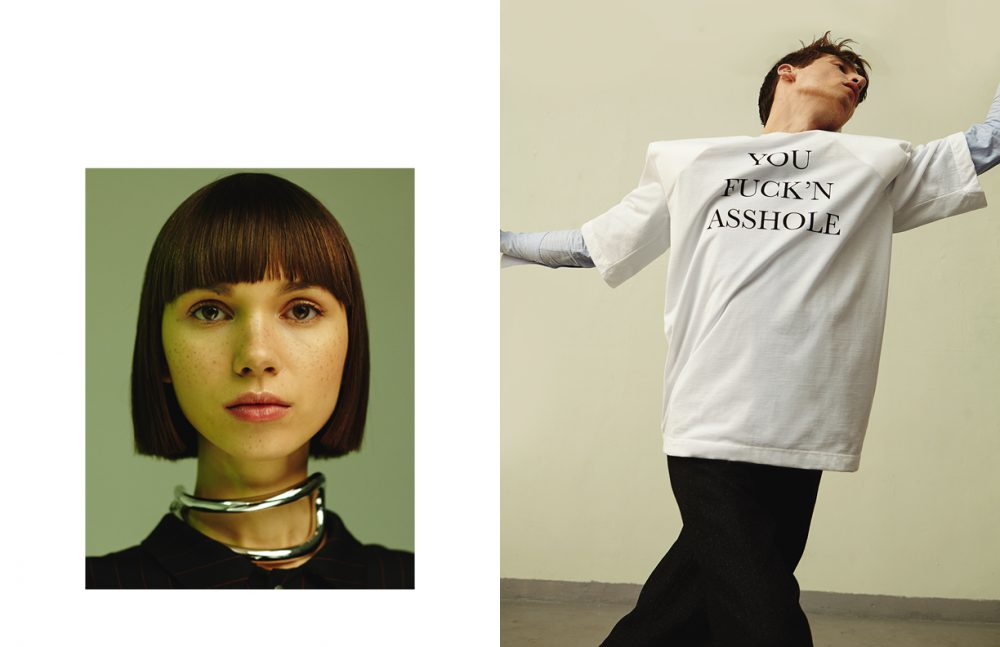Angie wears Necklace / MM6 Blazer / Dramat Opposite Anatol wears T-Shirt / Vetements (vitkac.com) Shirt / Hugo Boss Trousers / COS