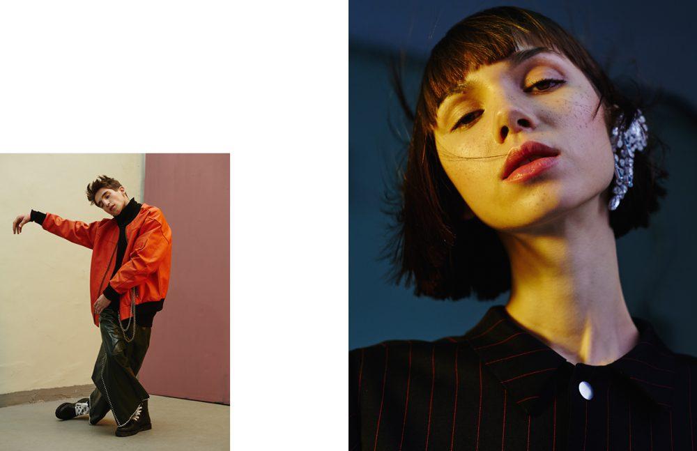 Jacket / MISBHV Turtleneck / Kas Kryst Trousers / Michał Mrzygłód Boots / COS Opposite Earing / Maison Margiela Blazer / Dramat