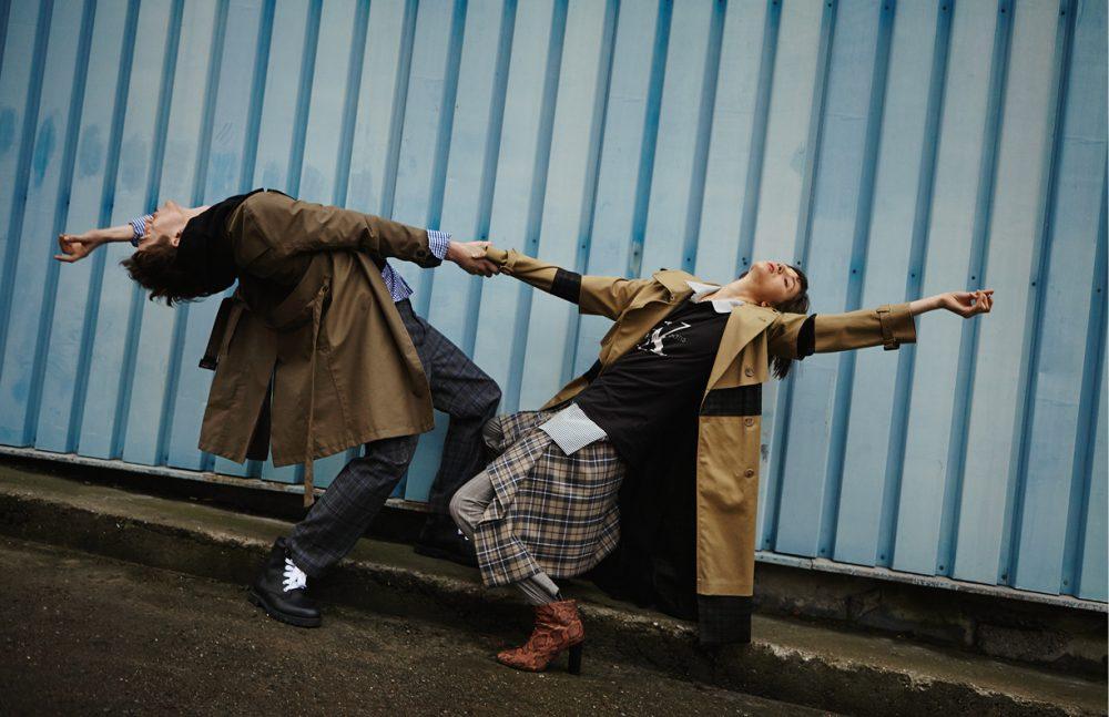 Anatol wears Coat / Haratyk Hoodie / MISBHV Shirt / Paul Smith Trousers / Vetements Boots / COS Angie wears Coat / Maison Margiela (vitkac.com) Shirt / MMC T-Shirt / Calvin Klein Jeans Skirt / Vivienne Westwood Anglomania (vitkac.com) Trousers / Isabel Marant Étoile Boots / Vintage